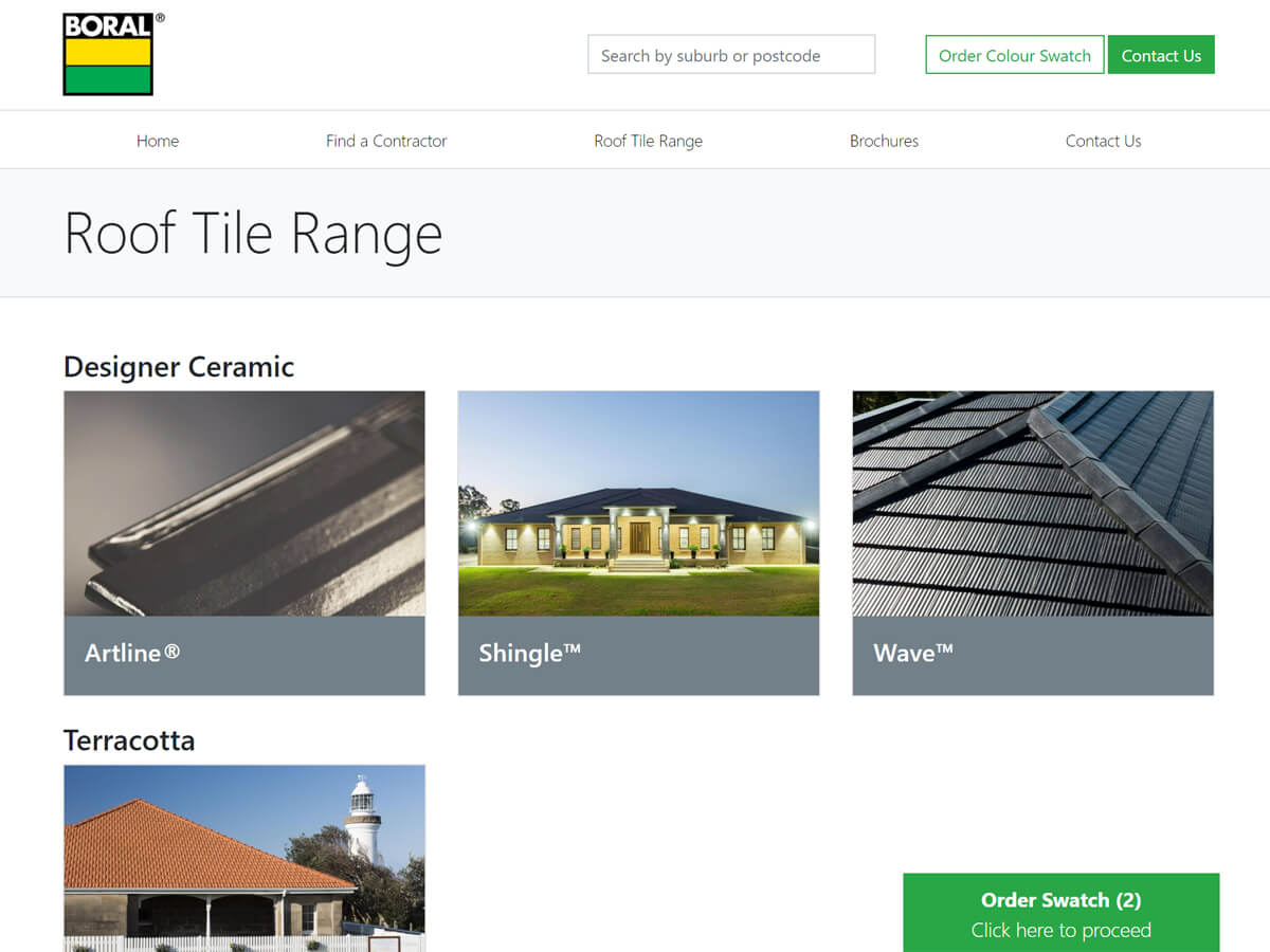 the boral content portal gives customers the ability to select tiles from a central catalogue